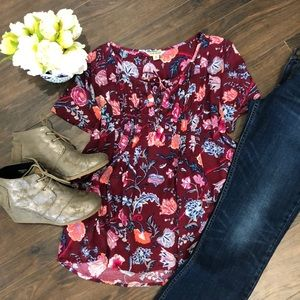 Lucky Brand Maroon Floral Blouse- size Medium